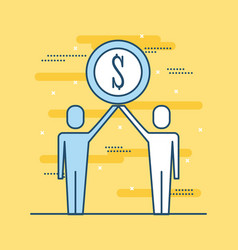 Two people business holding coin money dollar vector