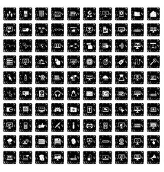 100 computer icons set grunge style vector image