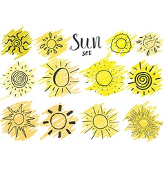 Hand drawn set of different suns sketch isolated vector