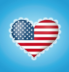 Heart shape flag of usa vector