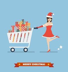 Santa woman push a shopping cart with piles of vector