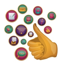 Thumbs up social media and multimedia design vector image