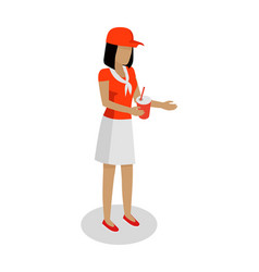 woman in red and white uniform sales cola vector image