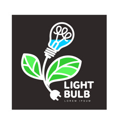 Logo with light bulb as flower ecology growth vector