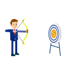 businessman hits target with bow vector image