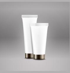 Plastic tube advertising template cream bottle vector