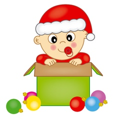 Baby dressed as Santa Claus vector image