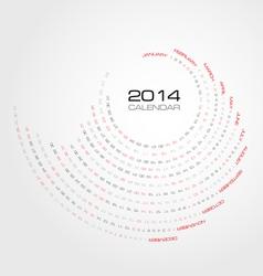 round simply calendar 2014 vector image