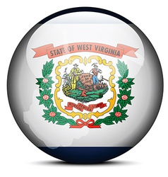 Map on flag button of usa west virginia state vector