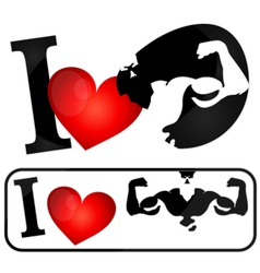 I love muscles symbol vector