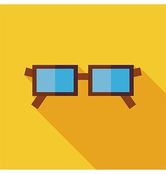 Flat eye glasses with long shadow vector