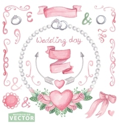 Watercolor wedding set with pink rosesCute vector image