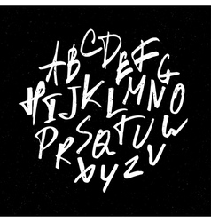 Hand drawn alphabet on black vector