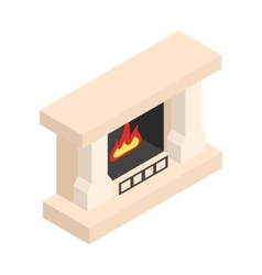 White fireplace isometric 3d icon vector