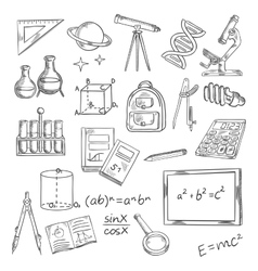 Education icons with school supplies and equipment vector