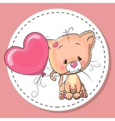 Cute kitten with pink balloon vector