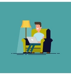 Man sitting in chair with laptop  freelancer work vector