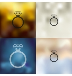 Ring icon on blurred background vector