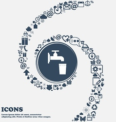 Faucet glass water icon sign in the center around vector