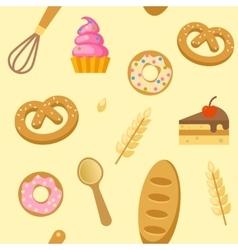 Bakery flat seamless pattern vector