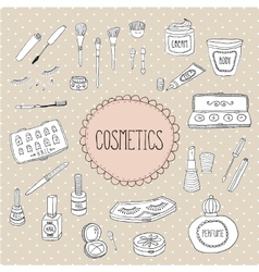 Beauty and cosmetics icons doodles vector image