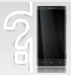 Black screened phone with a question mark vector