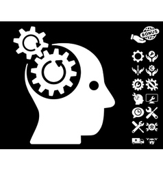 Brain gears rotation icon with tools bonus vector
