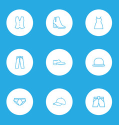 Clothes outline icons set collection of fedora vector