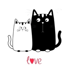 Cute cartoon black cat boy and white girl kitty vector