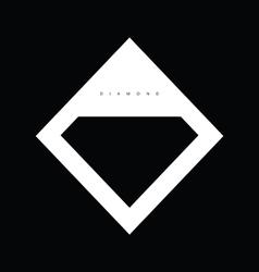 Diamond icon shiny on black background vector