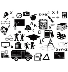 education black icon set vector image vector image