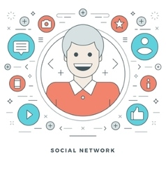 Flat line Social Network Concept vector image