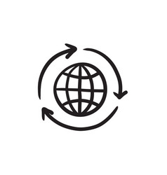 Globe with arrows sketch icon vector
