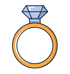 Gold ring with diamond icon cartoon style vector