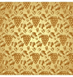 Golden seamless pattern with grapes and leaves vector