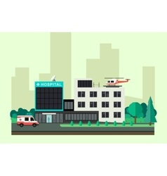 Hospital with ambulance car and helicopter vector image vector image