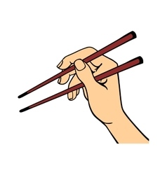 Human hand holding sushi sticks vector image vector image