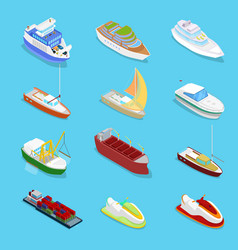 Isometric water transport set with cruise vector