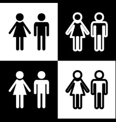 Male and female sign black and white vector