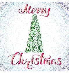 Merry Christmas and Tree 2 vector image
