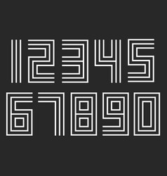 Numbers set linear hipster deco parallel offset vector