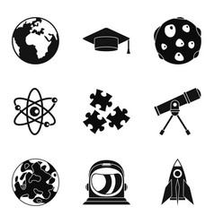 Observation of satellite icons set simple style vector