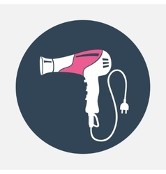 Professional blow hairdryer and two-pin plug icon vector image