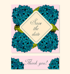 Set of cards with hydrangea floral motifs vector