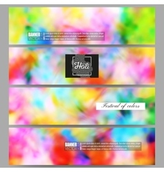 Set of modern banners colorful background holi vector