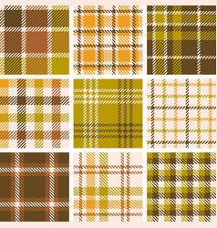 set of plaid seamless pattern for fall season vector image vector image