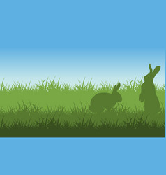 silhouette of easter bunny landscape vector image vector image