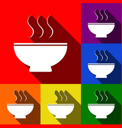 soup sign set of icons with flat shadows vector image