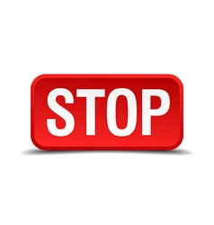 Stop red 3d square button isolated on white vector