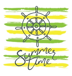 Summer time helm and stripes green yellow vector